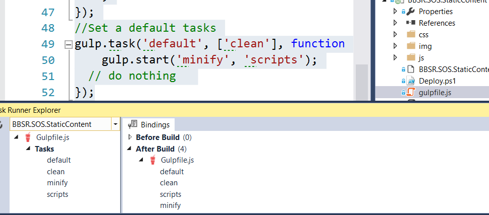 Gulp in Visual Studio and building with TeamCity