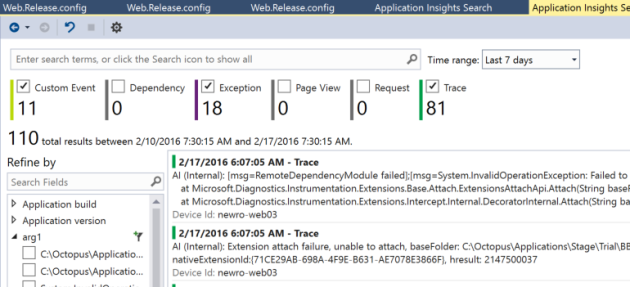 ApplicationInsightsSearchExceptionsVisualStudio